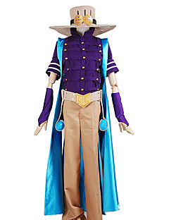 Inspired by JoJo's Bizarre Adventure Zeppeli Anime Cosplay Costumes Cosplay Suits Solid / Patchwork PurpleCloak / Top / Pants / Headpiece