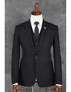 Suits Slim Fit Notch Single Breasted One-button Polyester Checkered 3 Pieces Black Straight Flapped Black