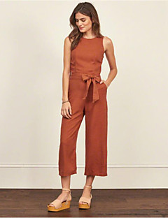 Women's Solid Orange Jumpsuits,Street chic Strap Sleeveless