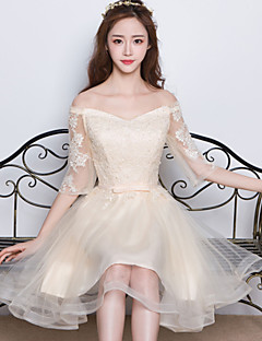 Knee-length Satin / Tulle Bridesmaid Dress A-line Off-the-shoulder with Appliques