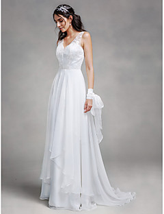 Lanting Bride A-line Wedding Dress Sweep / Brush Train V-neck Chiffon / Lace with Lace