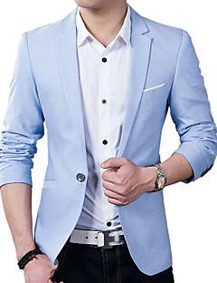 Erkeklerin Sade / Kırk Yama Günlük / İş Pamuklu / Akrilik Uzun Kollu Blazer Ceket Siyah / Mavi