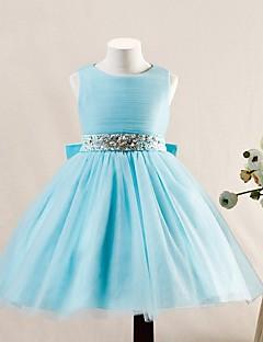 Ball Gown Knee-length Flower Girl Dress - Tulle Sleeveless Jewel with Beading / Bow(s)