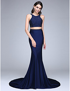 TS Couture® Formal Evening Dress Trumpet / Mermaid Jewel Court Train Jersey with Beading / Sequins