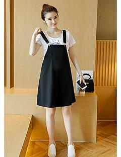 Mutterschaft Ringer-Rücken-Kleid Set - Polyester Kurzarm Rundhalsausschnitt