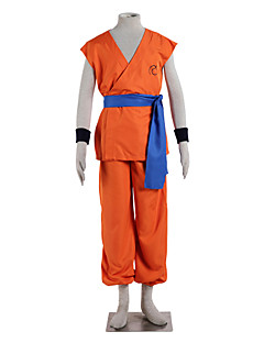 Inspirado por Dragon ball Goku Anime Fantasias de Cosplay Ternos de Cosplay Cor Única Laranja Sem Mangas Top / Calças / Cinto