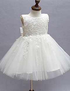 Ball Gown Knee-length Flower Girl Dress - Lace / Organza Sleeveless Jewel with Bow(s) / Lace