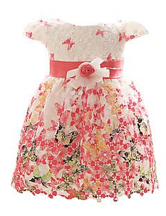 vermelho / azul / vestido fúcsia de baby girl, poliéster floral todas as estações
