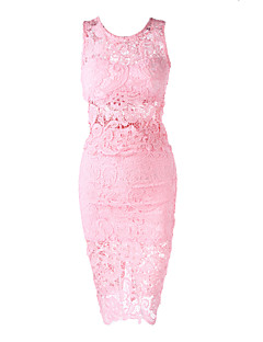 Women's Sexy Bodycon Lace Cute Plus Sizes Inelastic Sleeveless Knee-length Dress (Lace)