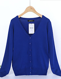 Women's Solid Blue / Pink / Red Cardigan,Simple / Street chic Long Sleeve