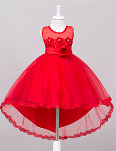 Girl's Party/Cocktail Solid Dress,Polyester Summer Pink / Red / White