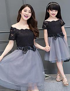 Kortærmet Sommer Familie tøj sæt Tynd Uelastisk Polyester