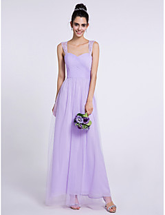 Ankle-length Tulle Bridesmaid Dress Sheath / Column Sweetheart with Criss Cross