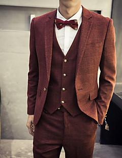 Men's Plaids Casual Set,Cotton Long Sleeve Red