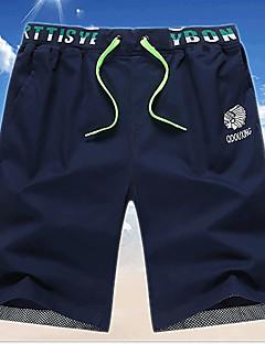 אנשיו של מכנס קצר (שורט) הדפס / חלק כותנה יום יומי כחול / ירוק / כתום / צהוב