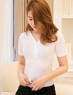 Sommar Enfärgad Kortärmad Ledigt/vardag T-shirt,Sexig Kvinnors Djup V-hals Bomull Tunn Vit