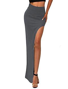 kvinders solid khaki / blå / vin nederdel, sexet høj slids elastik i taljen asymmetrisk