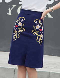 Kvinders Vintage Knælang Nederdele Mikroelastisk Bomuld