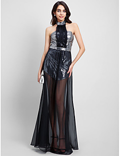 TS Couture® Formal Evening Dress Sheath / Column Halter Floor-length Chiffon / Sequined with Sequins