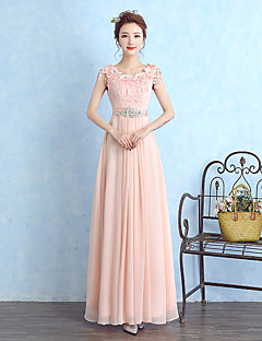 Floor-length Chiffon / Lace Bridesmaid Dress Sheath / Column Scoop with Crystal Detailing