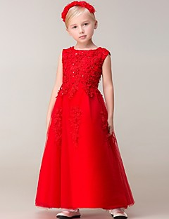 A-line Ankle-length Flower Girl Dress - Tulle Sleeveless Jewel with Appliques / Beading