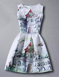 Kız Suni İpek Desen Yaz Bahar Sonbahar Kolsuz Elbise