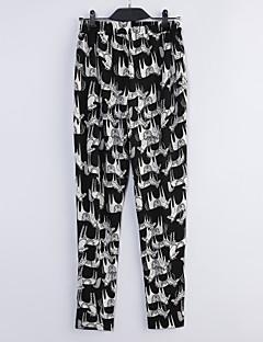 Pantalon Aux femmes Harem Sexy/Décontracté/A Motifs/Mignon/Grandes Tailles Mélanges de Coton Micro-élastique