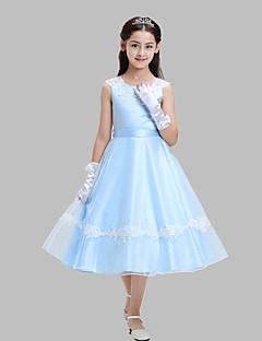 גזרת A באורך הקרסול שמלה לנערת הפרחים - כותנה / אורגנזה / סאטן ללא שרוולים עם תכשיטים עם