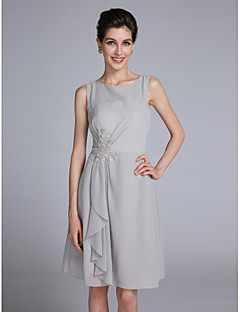 LAN TING BRIDE Sheath / Column Mother of the Bride Dress - Short Knee-length Sleeveless Chiffon with Appliques Ruffles