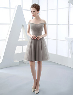 Short / Mini Tulle Bridesmaid Dress Ball Gown Off-the-shoulder with Side Draping