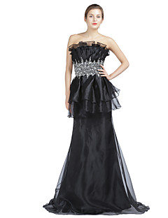 A-Fu Formal Evening Dress - Sparkle & Shine Trumpet / Mermaid Strapless Sweep / Brush Train Organza with Beading Crystal Detailing Draping