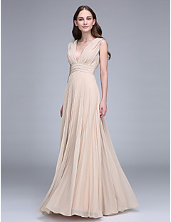Sheath / Column V-neck Floor Length Chiffon Bridesmaid Dress with Draping Ruching by LAN TING BRIDE®