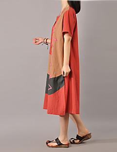 Mulheres Solto Vestido,Casual Simples Color Block Decote Redondo Médio Manga Curta Branco / Marrom / Verde / Laranja Algodão / Linho