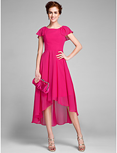 Lanting Bride® Sheath / Column Mother of the Bride Dress Asymmetrical Short Sleeve Chiffon with Ruffles