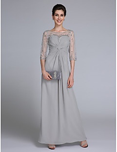Lanting Bride® Sheath / Column Mother of the Bride Dress Ankle-length Half Sleeve Chiffon with Beading / Criss Cross