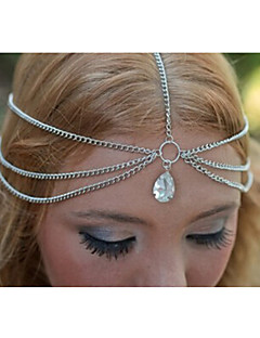 Women Simple Double Layer Alloy Tassel Drops Zircon Head Chain Hair Accessories  1 Piece