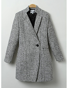 Women's Going out Simple Coat,Houndstooth / Check Shirt Collar Long / Winter Black Wool / Cotton / Polyester Thick
