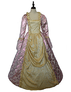 One-Piece/Dress Gothic Lolita Steampunk® / Victorian Cosplay Lolita Dress Yellow Floral Long Sleeve Floor-length Dress For WomenSatin /