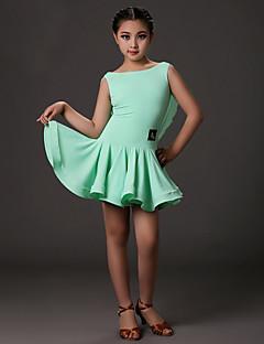 Dança Latina Vestidos Crianças Treino Licra Pano 1 Peça Sem Mangas Natural Vestidos S:61cm M:62cm L:63cm XL:64cm XXL:65cm
