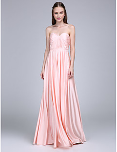 Lanting Bride® Floor-length Jersey Bridesmaid Dress Sheath / Column Sweetheart with Criss Cross