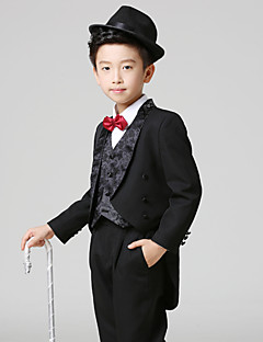 Black Polester/Cotton Blend Ring Bearer Suit - 5 Pieces Includes  Jacket / Shirt / Vest / Pants / Bow Tie