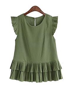 Damen Solide Einfach Lässig/Alltäglich Bluse,Rundhalsausschnitt Sommer Kurzarm Weiß / Grün Polyester Mittel