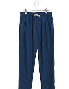 Men's Solid Casual Sweatpants,Linen Black / Blue / Brown / Green / Red / Beige