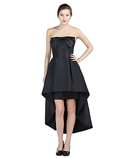Formal Evening Dress - Little Black Dress A-line Strapless Asymmetrical Taffeta with Bow(s)