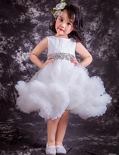 Ball Gown Knee-length Flower Girl Dress - Tulle Sleeveless Jewel with Beading