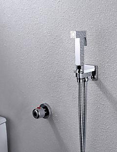 現代風 壁式 サーモスタットタイプ with  真鍮バルブ シングルハンドル二つの穴 for  クロム , ビデ蛇口