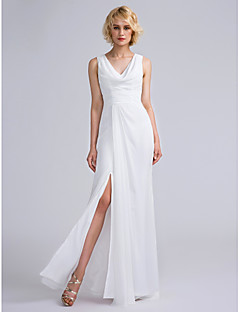 LAN TING BRIDE Floor-length V-neck Bridesmaid Dress - Furcal Sleeveless Chiffon