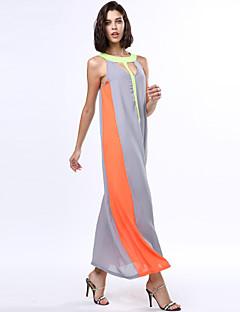 여성의 휴일 A 라인 / 스윙 드레스 컬러 블럭 맥시 라운드 넥 아크릴 / 폴리에스테르 / 쉬폰 / 면혼방