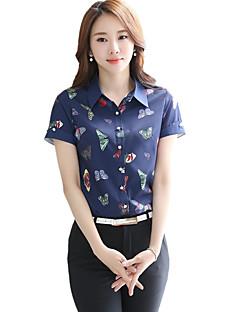 Women's Shirt Collar Butterfly Print Slim OL Work Plus Size Chiffon Short Sleeve Shirt