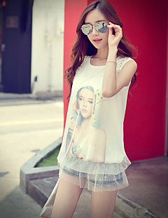 Pink Doll® Women's Print Round Neck Sleeveless T Shirt White-X15BTS048
